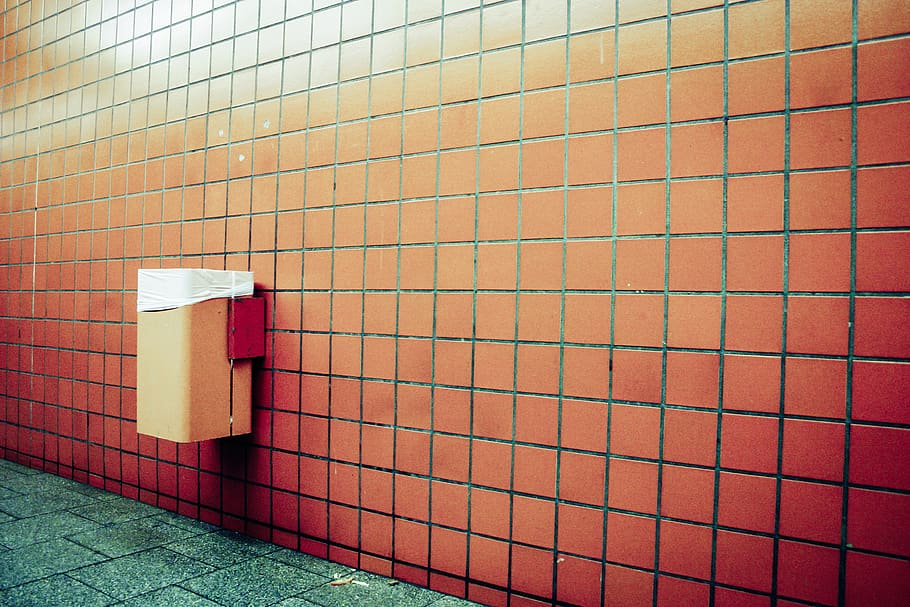 red tile on the wall
