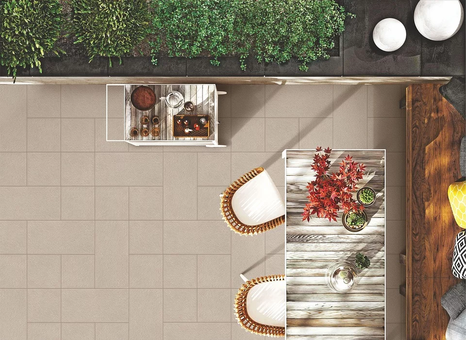 Top view of an outdoor dining area